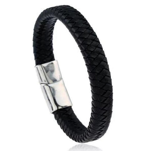Punk Men Jewelry Black/Brown Braided Leather Bracelet Stainless Steel Magnetic Clasp Fashion Bangles 18.5/22/20.5cm