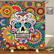 3D Halloween  Flower Skull Curtain  Polyester Bathroom Shower Curtain