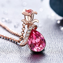 Rose Gold Necklaces Crystals from Swarovski Vintage Women Charm Pendant Zircon Pink Blue Sexy Flower Set Elegant Statement