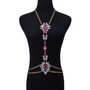 Sexy Design Luxury Crystal Body Chain For Women Statement Necklace Body Jewelry