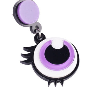 Creative Funny Pruple Big Eyes Acrylic Drop Earrings Eyelash Exaggerated Fashion Jewelry Personalized Drop Earrings