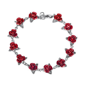 Bracelet Red Rose Flowers Wrist Chain Charm