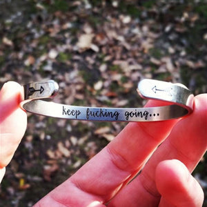 Inspirational Keep Going Cuff Bracelets Bangles Motivational Friend Encouragement Jewelry