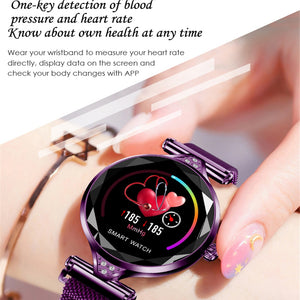Women Fashion Smart Watch Blood Pressure Heart Rate Monitor Fitness Tracker Bracelet Smartwatch Diamond Flower Color Screen