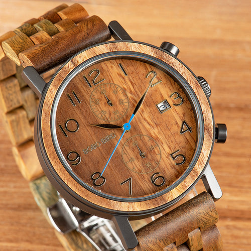 BOBO BIRD Business Stainless Steel Watch Hand Crafted Wood Wristwatch for Men with Date Display