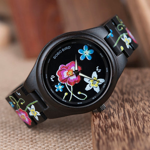 BOBO BIRD Ebony Watch Men Features Embroidery Quartz Wristwatch for Women