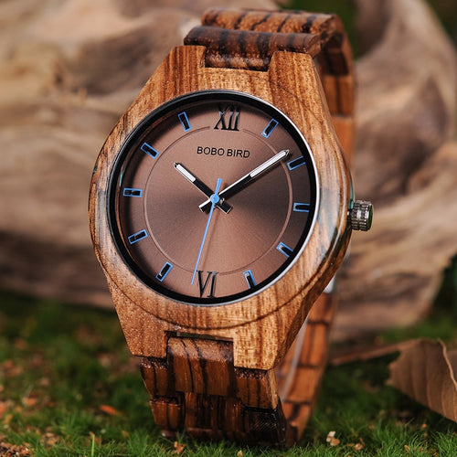 BOBO BIRD Watch Zebrawood Quartz Men Watches