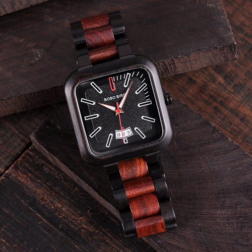 BOBO BIRD Luxury Brand Men Watch Fashion Retro Color Combination Wooden Watches
