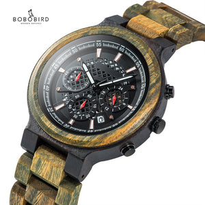 BOBO BIRD Men Watch Handmade Lightweight Chronograph Date