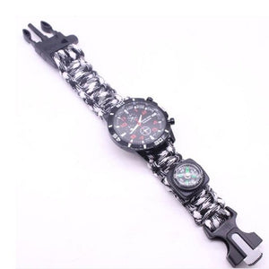 Military Outdoor Paracord Survival Bracelet Compass 6 In 1 Fire Watch