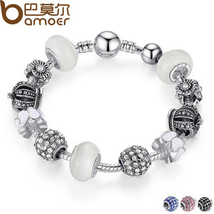BAMOER Silver Bracelet & Bangle with Royal Crown Charm and Crystal Ball White Beads