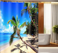 3D Shower Curtains Seaside Sandy Beach Scenery Curtain Fabrics Bathroom