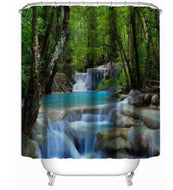 3D Waterfall Scenery Waterproof Shower Curtain Bathroom