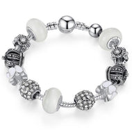 BAMOER Silver Bracelet & Bangle with Royal Crown Charm and Crystal Ball White Beads PA1456