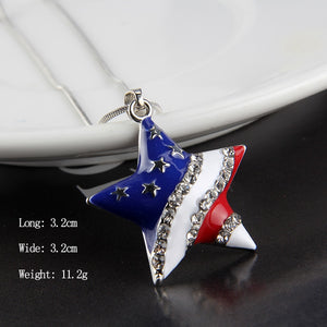 Fashion Jewelry High Quality American Flag Heart & Star Necklace The Old Glory Crystal Necklace Women Gift