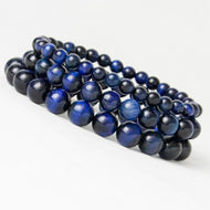 Blue Tiger Eye Buddha Bracelets Natural Stone Round Beads Elasticity Rope Men Women Bracelet