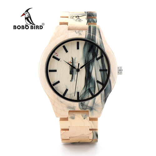 BOBO BIRD Wooden Watch Men Luxury Handmade Wood Band Quartz