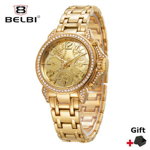 BELBI Women Dress Watches Famous Brand Designer Quartz Watch Ladies Women Diamonds Watches