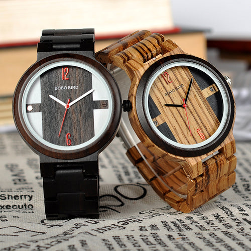 BOBO BIRD Wood Quartz Wristwatches For Men and Women Wooden