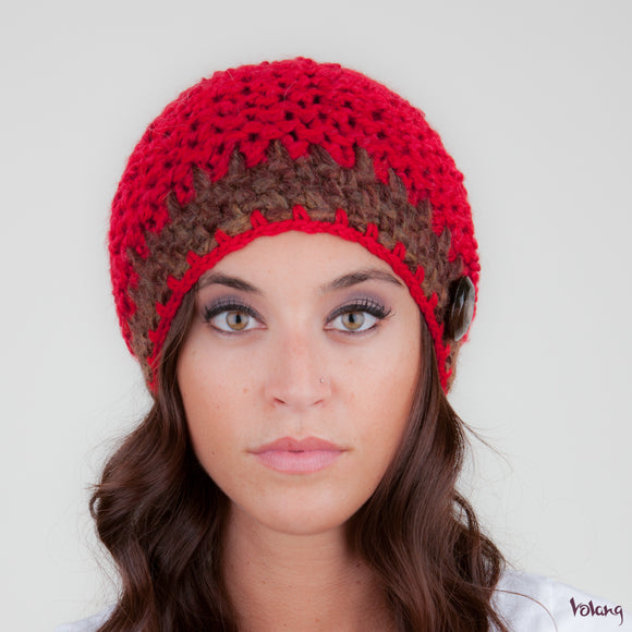 Tiffany Hat in Red and Brown
