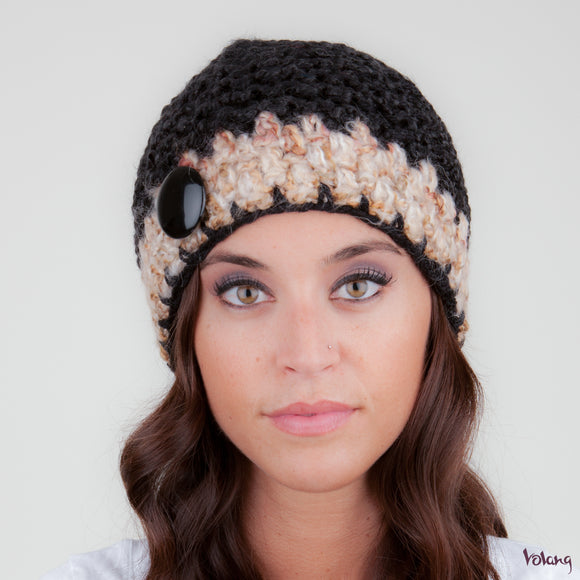 Tiffany Hat in Black and Beige