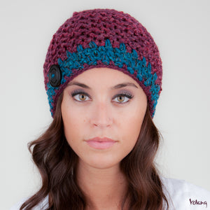 Tiffany Hat in Burgundy and Blue