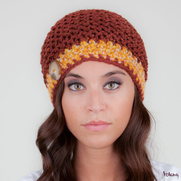 Tiffany Hat in Brown and Mustard