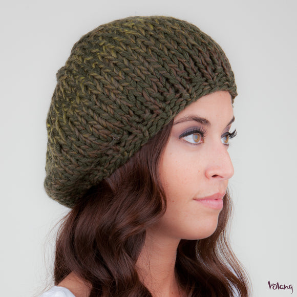 Beret Hat in Khaki Green