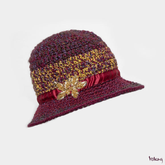 Sunday Hat in Burgundy Mix