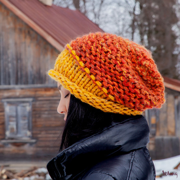 Brooklyn Slouchy Hat in Orange and Mustard
