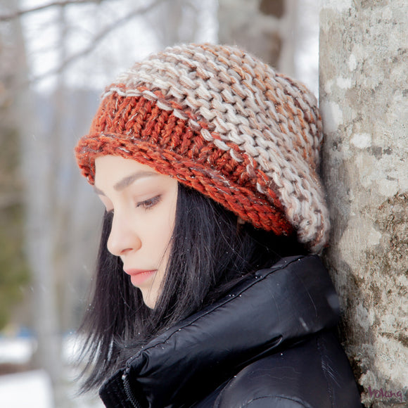 Brooklyn Slouchy Hat in Beige Brown