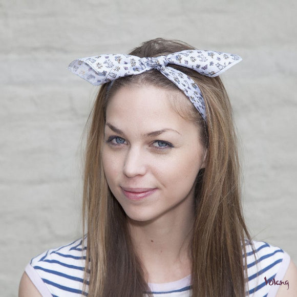 Silk Headband in Blue with Cats