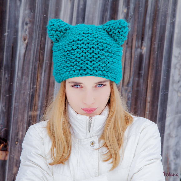Cat Hat in Turquoise Blue