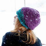 Brooklyn Slouchy Hat in Purple and Turquoise