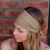 Silk Headband in Orange with Frogs