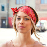 Silk Headband in Coral with Flowers