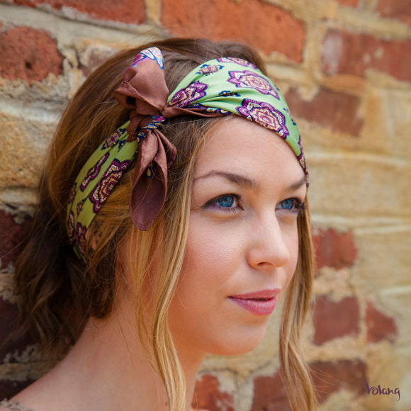 Silk Headband in Green and Brown