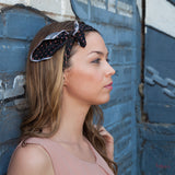 Silk Headband in Black with Polkadots
