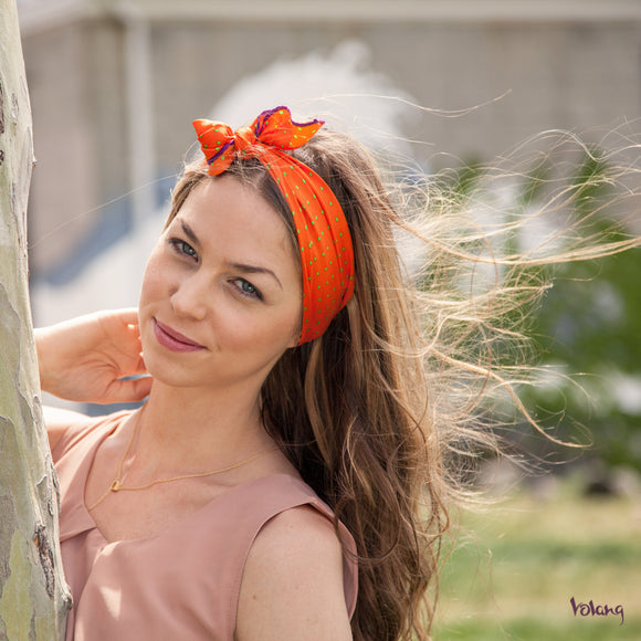 Silk Headband in Orange with Polkadots