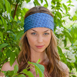 Silk Headband in Blue with Flowers