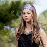 Silk Headband in Grey, Purple and Black