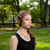 Silk Headband in Brown with Polkadots