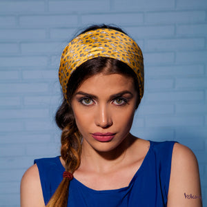 Silk Headband in Yellow with Cats