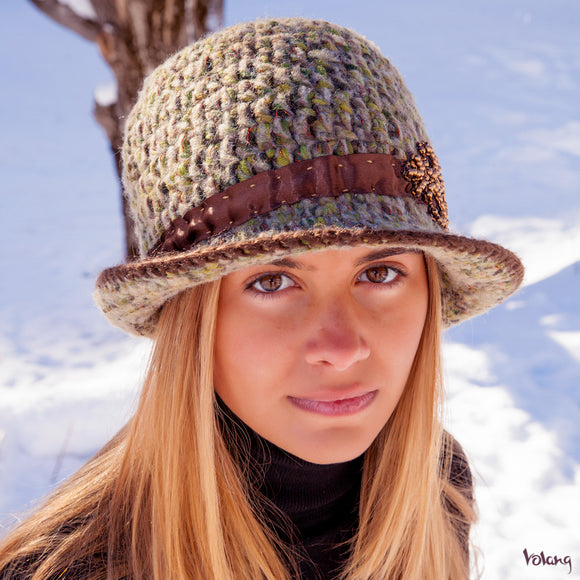 Sunday Hat in Green Brown Mix