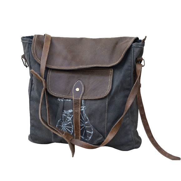 Recycled Canvas Messenger Bag with Bike
