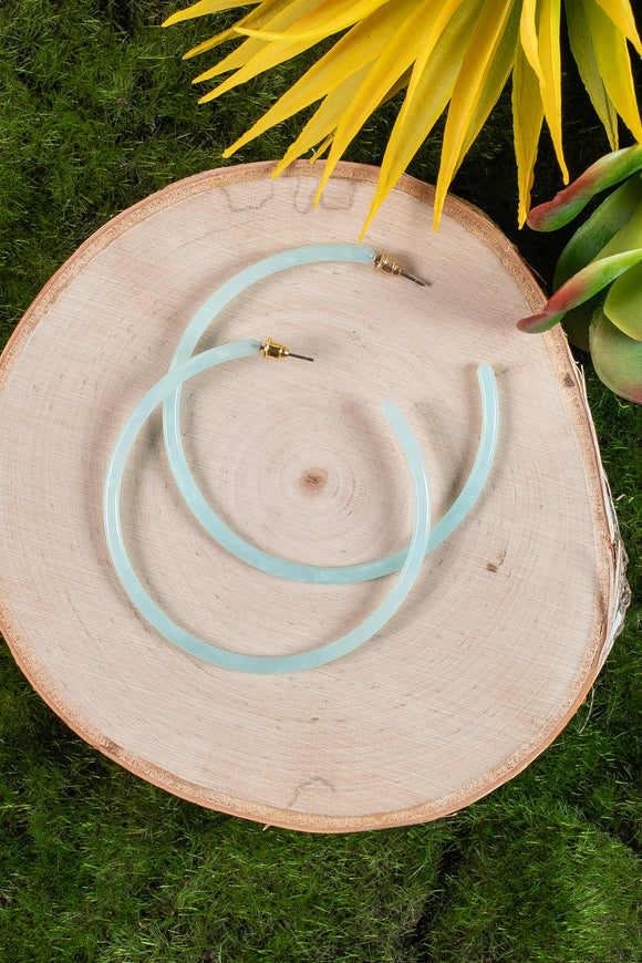 Hoop Earrings in Aqua Blue