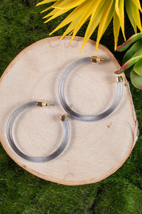 Lucite Hoop Earrings in Blue
