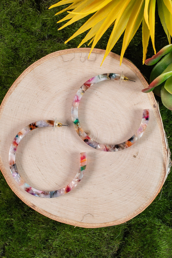 Hoop Earrings Multicolor Tortoise Shell