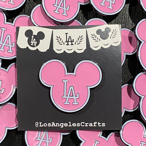 LA Mickey head -Bubble gum Pink Pin