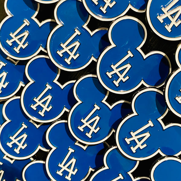 LA Mickey head Dodger Blue Pin